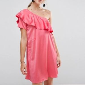 Rage one shoulder ruffle dress